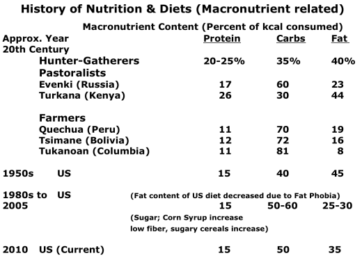 History of Macronutrients Table