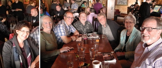 Brunch at the Aster Cafe. From the left: Stacy Richardson, Joanne Slavin, Mark Enstrom, Joe Dixon, Henry Blackburn, Carrie D'Andrea (Keys), Julian D'Andrea,